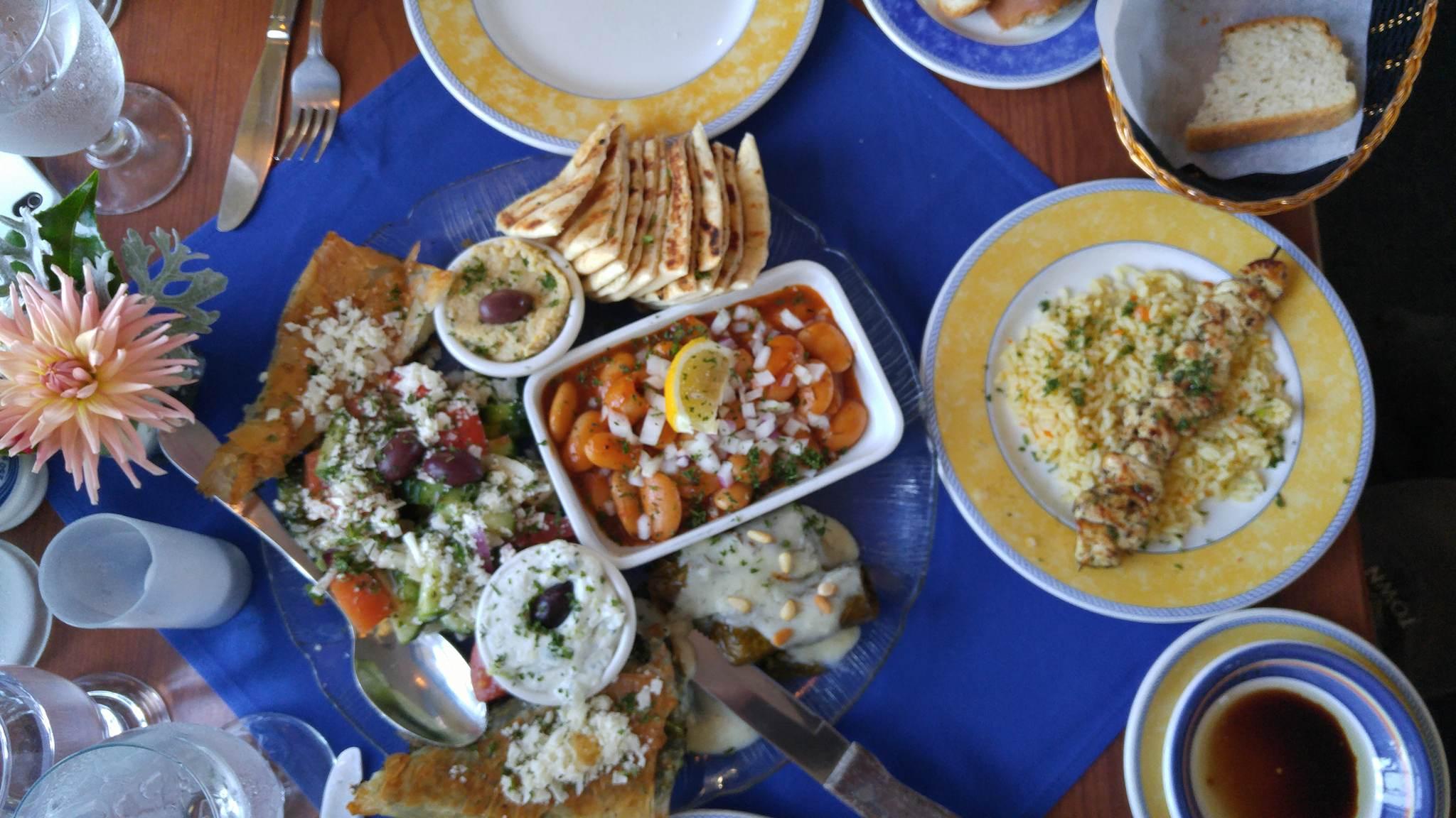 Vegetarian platter at Ithaka Restaurant, Victoria BC.